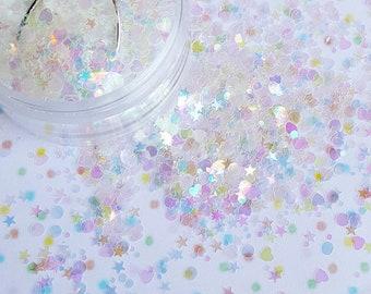 10 grams - Iridescent Assorted Heart, Star, Round Glitter, Iridescent, Glitter, Glitter Confetti, Confetti, Kawaii, Resin Glitter