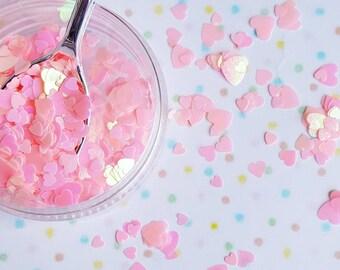 5 grams - 3-6mm Iridescent Pink Heart Glitter, Heart Glitter, Glitter, Pink Glitter Confetti, Confetti, Kawaii, Resin Glitter