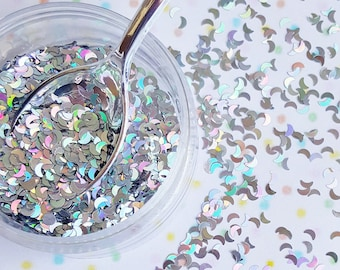 5 grams - 4mm Silver Moon Glitter, Holographic Silver Glitter, Glitter, Silver Glitter Confetti, Confetti, Kawaii, Resin Glitter