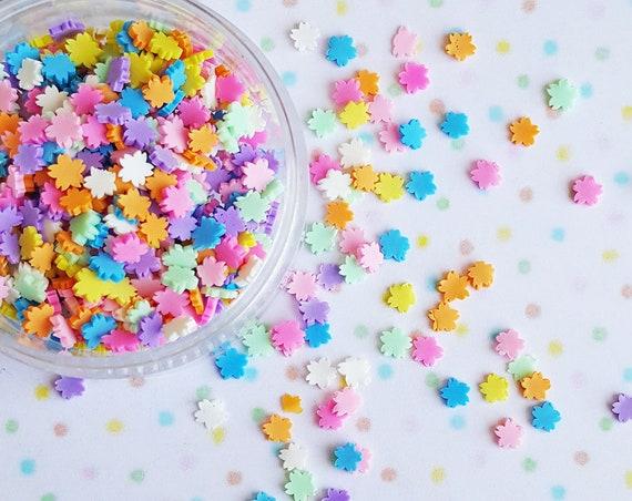 10 grams - 4mm Cherry Blossom Confetti, Polymer Clay Confetti, Glitter, Assorted Colors, Glitter Confetti, Confetti, Kawaii, Resin Glitter