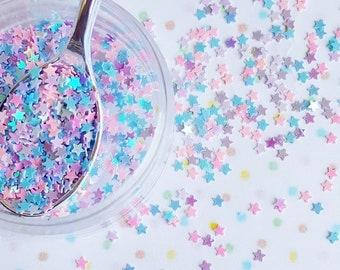 5 grams - 3mm Star Glitter, Pastel Moon Glitter, Glitter, Pink, Purple, Blue, Glitter Confetti, Confetti, Kawaii, Resin Glitter