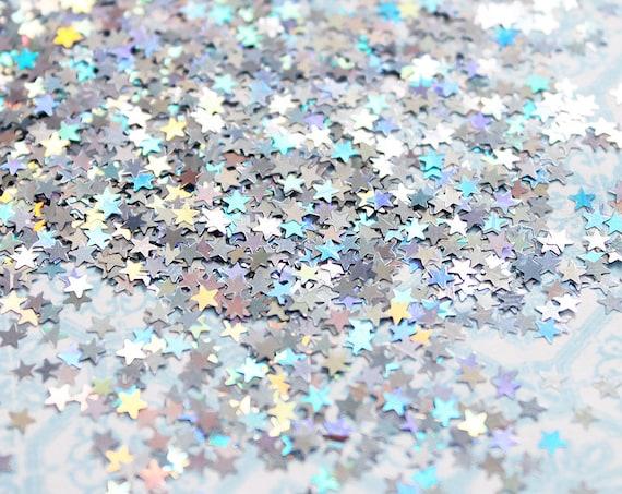 5 grams - 3mm Silver Star Glitter, Holographic Glitter, Glitter, Silver, Glitter Confetti, Confetti, Kawaii, Resin Glitter