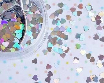 5 grams - 4mm Silver Holographic Heart Glitter, Heart Glitter, Glitter, Silver Glitter Confetti, Confetti, Kawaii, Resin Glitter