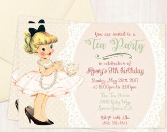 Vintage Tea Party Customizable Birthday Invitations, Cute Birthday, Girl Birthday Invitations, Tea Party Birthday, Printable Invitations 045