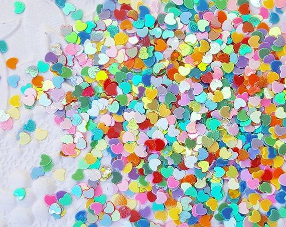 5 grams - 3mm Heart Glitter, Rainbow Heart Glitter, Glitter, Assorted Colors, Glitter Confetti, Confetti, Kawaii, Resin Glitter