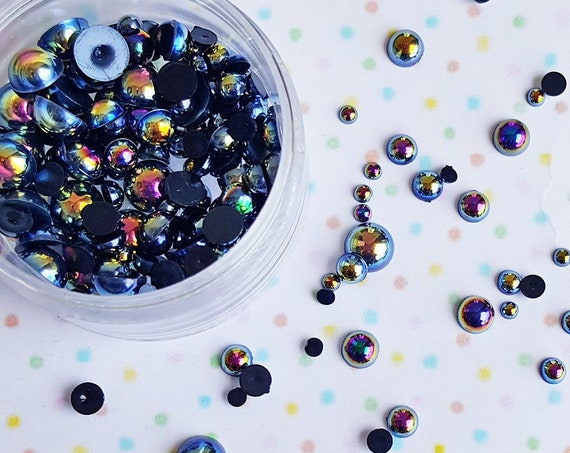 10 grams- 2mm - 10mm AB Black Round Flatback Pearls, Flatback Pearls, Acrylic Pearls, Loose Rhinestones, Pearl Confetti, Confetti