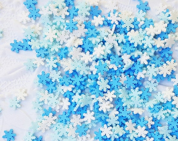 10 grams - 5mm Snowflake Confetti, Polymer Clay Confetti, Glitter, Assorted Colors, Glitter Confetti, Confetti, Kawaii, Resin Glitter
