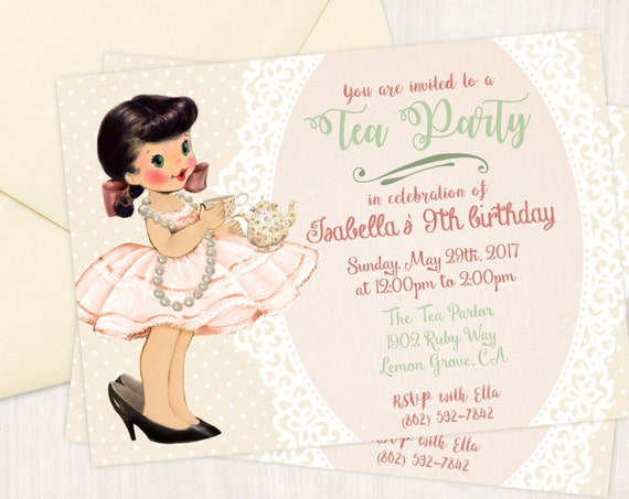 Vintage Tea Party Customizable Birthday Invitations, Cute Birthday, Girl Birthday Invitations, Tea Party Birthday, Printable Invitations 045
