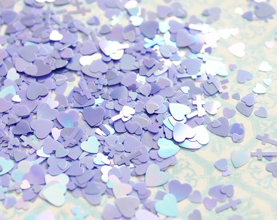 5 grams - 3-6mm  Assorted Goth Glitter, Pastel Glitter, Glitter, Purple Glitter Confetti, Confetti, Kawaii, Resin Glitter, Crosses and Heart
