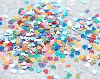 5 grams - 3mm Rainbow Heart Glitter, Rainbow Heart Glitter, Glitter, Assorted Colors, Glitter Confetti, Confetti, Kawaii, Resin Glitter