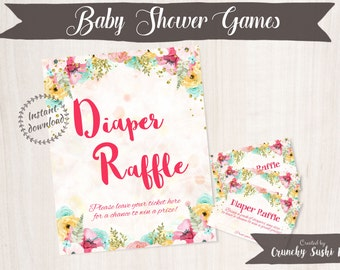 Printable Baby Shower Games, Diaper Raffle, Floral, Baby Shower, Party Printables, Baby Shower Decorations, Teal, Pink 001