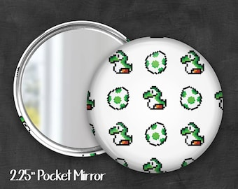 "Fandom 2.25"" Yoshi Pocket Mirror, Geek Pocket Mirror, Geekery, Mirror Button,  Kawaii Mirror, Pocket Mirror"