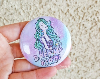 "2.25"" Dream Girl Pinback Button, Geek Button, Geekery, Button, Kawaii Button, Badges, Flare, Fairy Kei, Lolita, Pastel Goth"