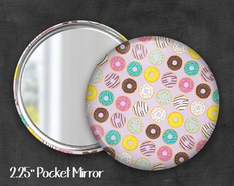 "2.25"" Donut Pocket Mirror, Geek Pocket Mirror, Geekery, Mirror Button, Kawaii Mirror, Pocket Mirror, Kawaii, Fairy Kei, Pastel Goth"