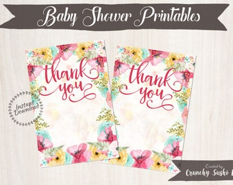 Blank Baby Shower Thank You Cards, Thank You Cards, Baby Shower, Floral, Party, Baby Shower Decorations, Teal, Pink 001