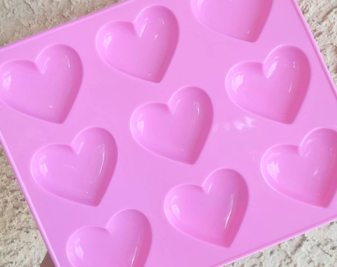 Featured listing image: 9 Cavity Shiny Puffy Heart Mold, Heart Resin Mold, Silicone Heart Mold, Epoxy, Kawaii Mold, Resin Mold, Puffy Heart Mold, UV Resin Mold