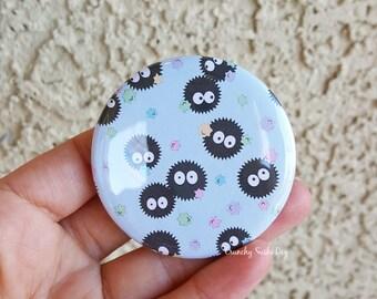 """2.25"""" Soot Sprite Pinback Button, Geek Button, Geekery, Button, Kawaii Button, Badges, Flare, Fanart, Fandom"""