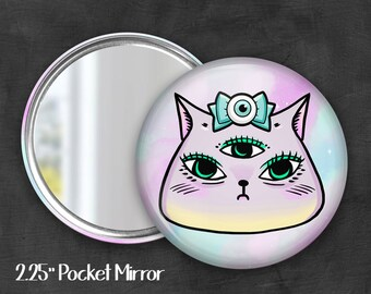 "2.25""  Kawaii Kitty Pocket Mirror, Geek Pocket Mirror, Geekery, Mirror Button,  Kawaii Mirror, Pocket Mirror, Kawaii, Fairy Kei, Pastel Goth"