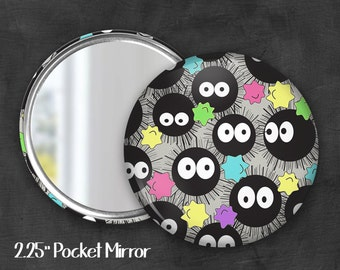 "2.25"" Soot Sprite Pocket Mirror, Geek Pocket Mirror, Geekery, Mirror Button,  Kawaii Mirror, Pocket Mirror, Fanart, Fandom"