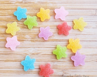 14 PCS- 18mm Paired Mixed Colors Star Resin Candy Flatback Cabochons, Cabochon, Fake Candy, Resin, Star Confetti, Confetti, Rainbow