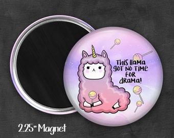 "2.25"" Drama Llama Magnet, Geek Magnet, Geekery, Magnet Button,  Kawaii Magnet, Refridgerator Magnet, Kawaii, Fairy Kei, Pastel Goth"