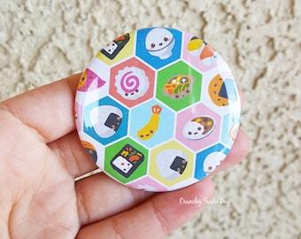 "2.25"" Sushi Pinback Button, Geek Button, Geekery, Button, Kawaii Button, Badges, Flare, Pin, Kawaii, Fairy Kei, Pastel Goth"
