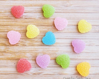 14 PCS- 18mm Paired Mixed Colors Heart Resin Candy Flatback Cabochons, Cabochon, Fake Candy, Resin, Heart Confetti, Confetti, Rainbow