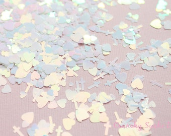 5 grams - 3-6mm  White Assorted Goth Glitter, Pastel Glitter, Glitter, Glitter Confetti, Confetti, Kawaii, Resin Glitter, Crosses and Heart