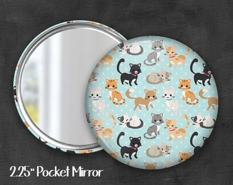 "2.25"" Cat Pocket Mirror, Geek Pocket Mirror, Geekery, Mirror Button, Kawaii Mirror, Pocket Mirror, Kawaii, Fairy Kei, Pastel Goth"