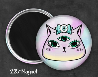 "2.25"" Kawaii Kitty Magnet, Geek Magnet, Geekery, Magnet Button,  Kawaii Magnet, Refridgerator Magnet, Kawaii, Fairy Kei, Pastel Goth"