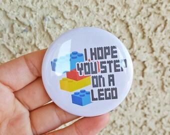 """2.25"""" I Hope You Step On A Lego Pinback Button, Funny, Geek Button, Geekery, Button, Kawaii Button, Badges, Flare, Pin, Kawaii, Fairy Kei"""