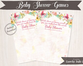 Printable Baby Shower Games, Word Scramble, Anagram, Floral, Baby Shower, Party Printables, Baby Shower Decorations, Teal, Pink 001