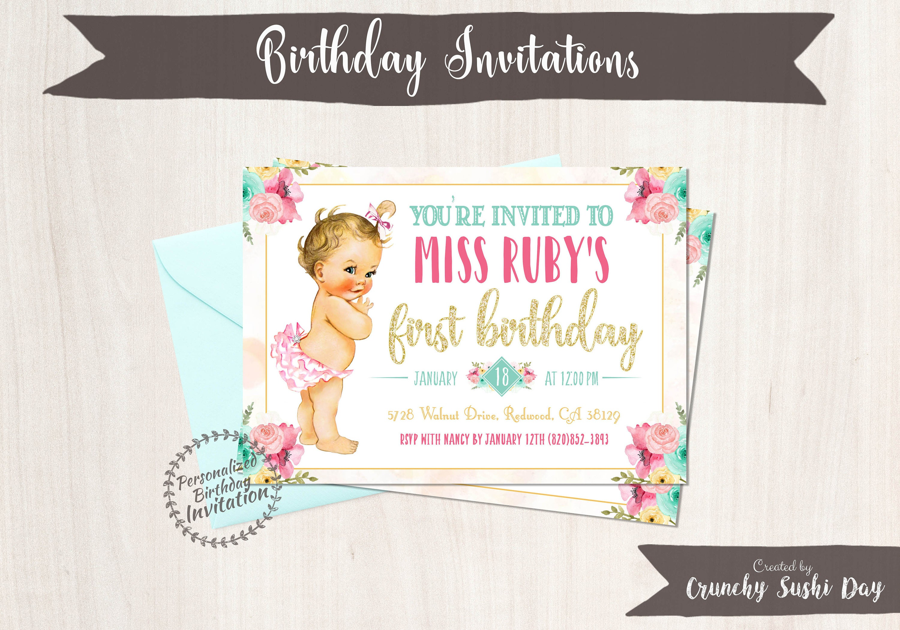 Vintage Baby Girl First Birthday Invitations Customizable