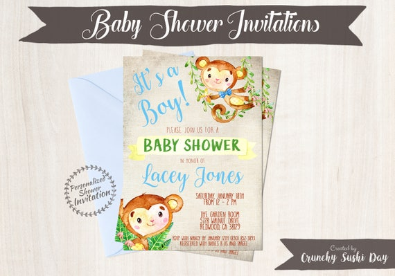 Blue Monkey, Boy Baby Shower Invitations, Printable Invitations, Baby Boy, Safari, Jungle, Monkey, Blue, Grey, Nursery, Cute 011