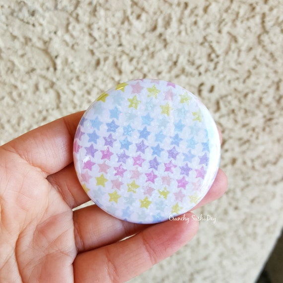 "2.25"" Rainbow Star Pinback Button, Geek Button, Geekery, Button, Kawaii Button, Badges, Flare, Fairy Kei, Lolita, Pastel Goth"