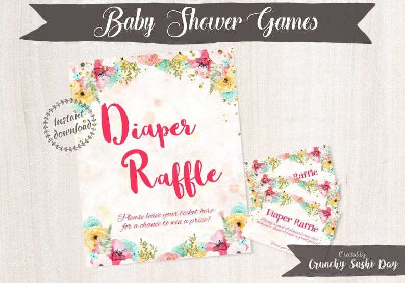photo regarding Printable Baby Shower Decorations identified as Printable Child Shower Game titles, Diaper Raffle, Floral, Boy or girl Shower, Celebration Printables, Kid Shower Decorations, Teal, Red 001