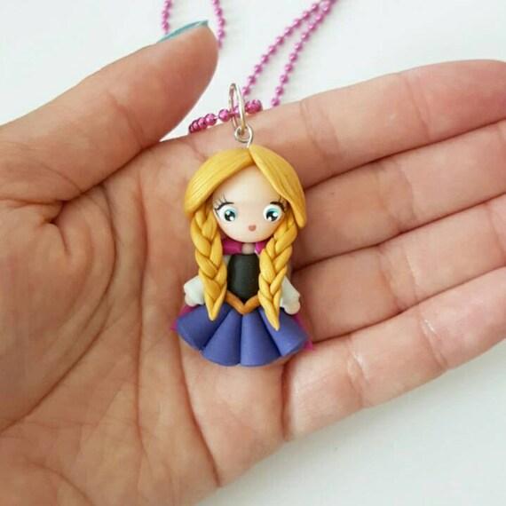 LIMITED EDITION Anna Necklace, Princess, Polymer Clay Pendant, Necklace, Cosplay, polymer clay, clay pendant, Kawaii, doll, charm