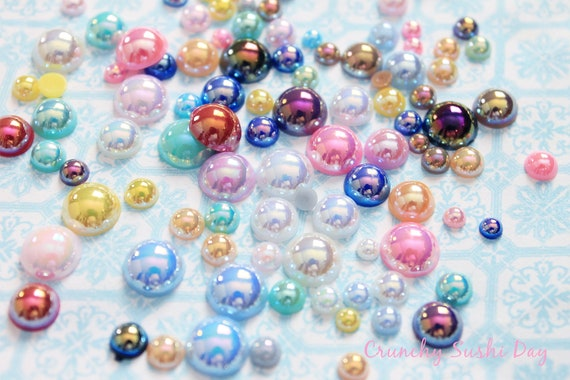 500 PCS- 3mm - 12mm Assorted Flatback Pearls, Flatback Pearls, Acrylic Pearls, Loose Rhinestones, Pearl Confetti, Confetti, Pastel, Rainbow