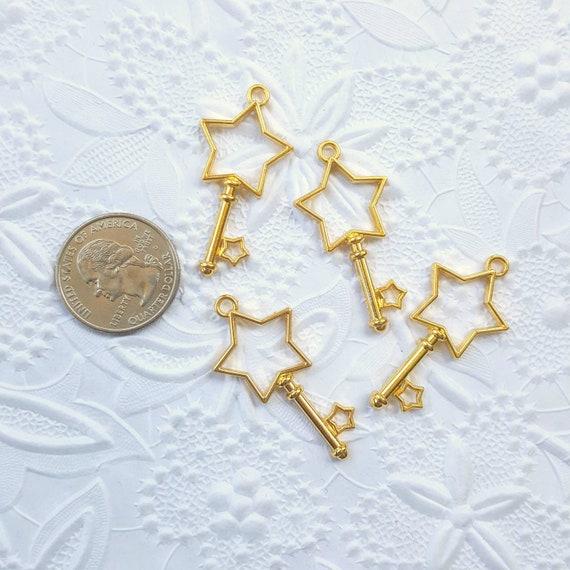 3 Qty - Star Key Open Bezel Charm, Open Bezel Charm, UV Resin Bezel, Kawaii, Charm, Bezel, Resin, Epoxy