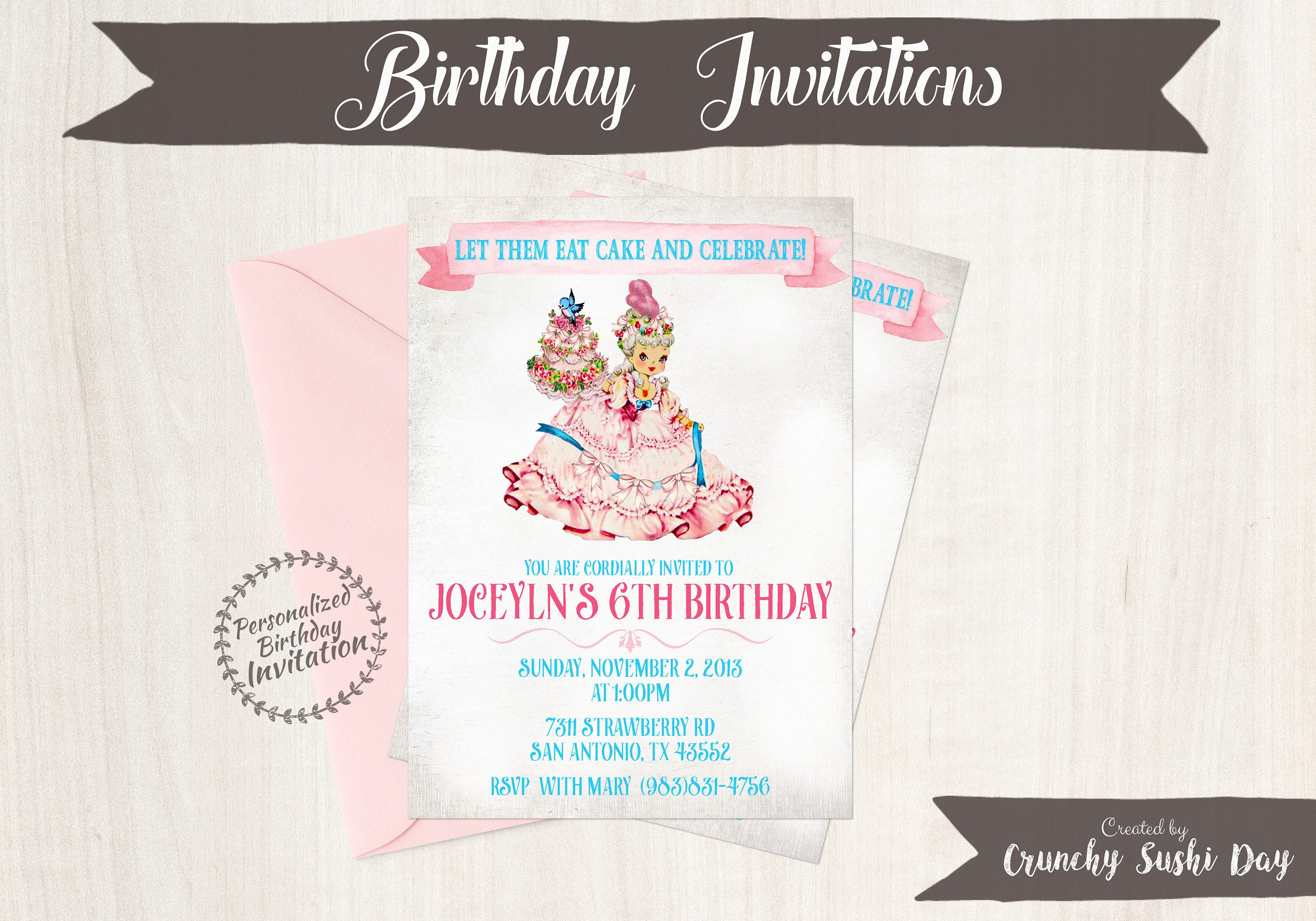 Vintage Marie Antoinette Customizable Birthday Invitations Let Them