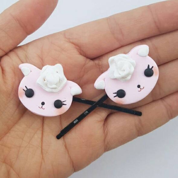Kawaii Lamb Hair Clip Set,  Accessory, Polymer Clay Charm, Polymer Clay, Sweet Lolita, Fairy Kei, Kawaii, Chibi, Clay Charm