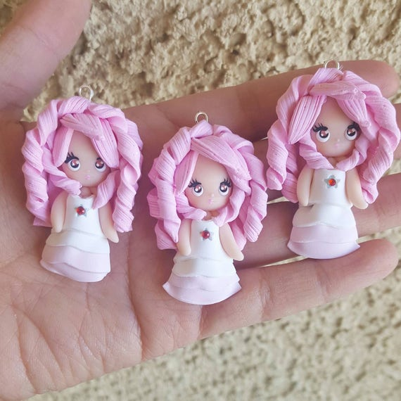Rose Quartz Necklace, Steven Universe, Polymer Clay Pendant, Necklace, Cosplay, polymer clay, clay pendant, Kawaii, doll, Chibi, Fanart
