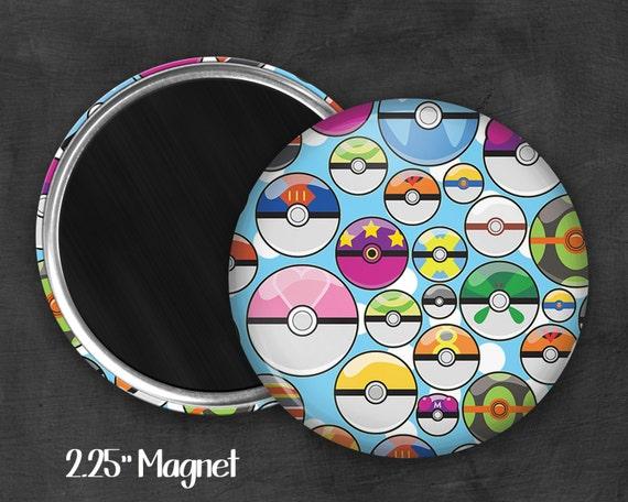 """2.25"""" Pokeball Magnet, Geek Magnet, Geekery, Magnet Button,  Kawaii Magnet, Refridgerator Magnet, Fanart, Fandom"""
