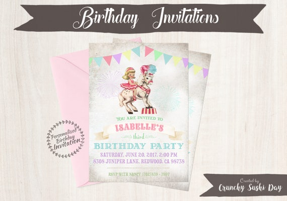 Vintage Carnival Customizable Birthday Invitations, Horse, Circus, Girl Birthday, Carnival, Printable Invitations, Pony, Cowgirl 049
