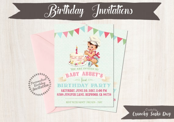 Vintage Baby Girl Customizable Birthday Invitations, Customize, Girl Birthday Invitations, First Birthday, Printable Invitations 100