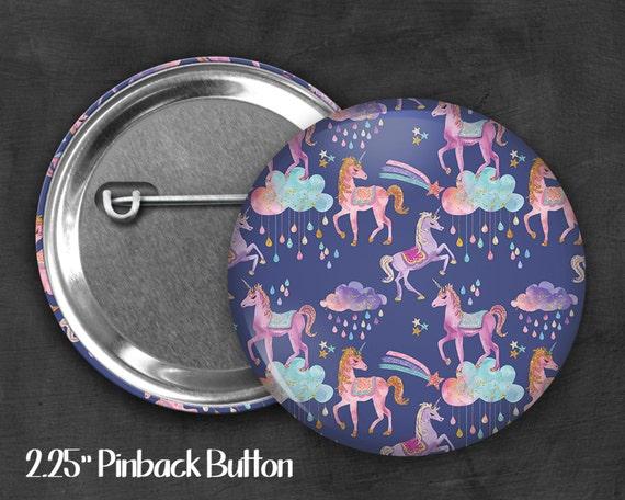 "2.25"" Unicorn Pinback Button, Geek Button, Geekery, Button, Kawaii Button, Badges, Flare, Pin, Kawaii, Fairy Kei, Pastel Goth"