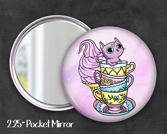 "2.25"" Derp Kitty Pocket Mirror, Geek Pocket Mirror, Geekery, Mirror Button,  Kawaii Mirror, Pocket Mirror, Kawaii, Fairy Kei, Pastel Goth"