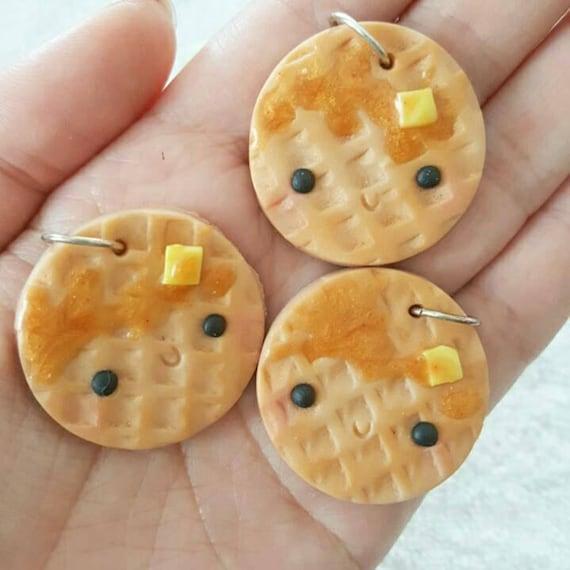 Waffle Charm, Waffle Polymer Clay Pendant, Food, Miniature Food Charm, DS Charm, polymer clay, clay pendant, Kawaii, Chibi, Clay Charm