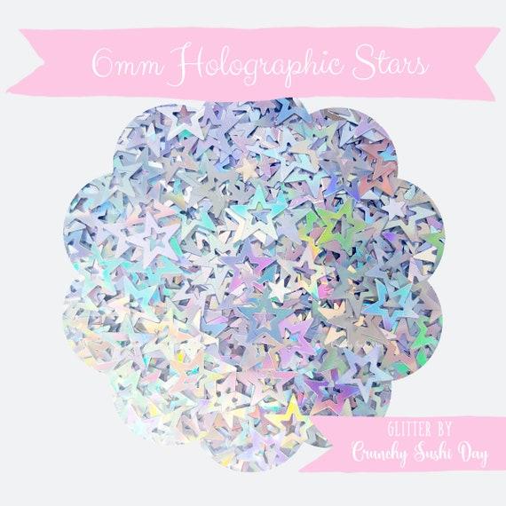 5 grams - 6mm Hollow Star Glitter, Holographic Star Glitter, Glitter, Silver, Glitter Confetti, Confetti, Kawaii, Resin Glitter