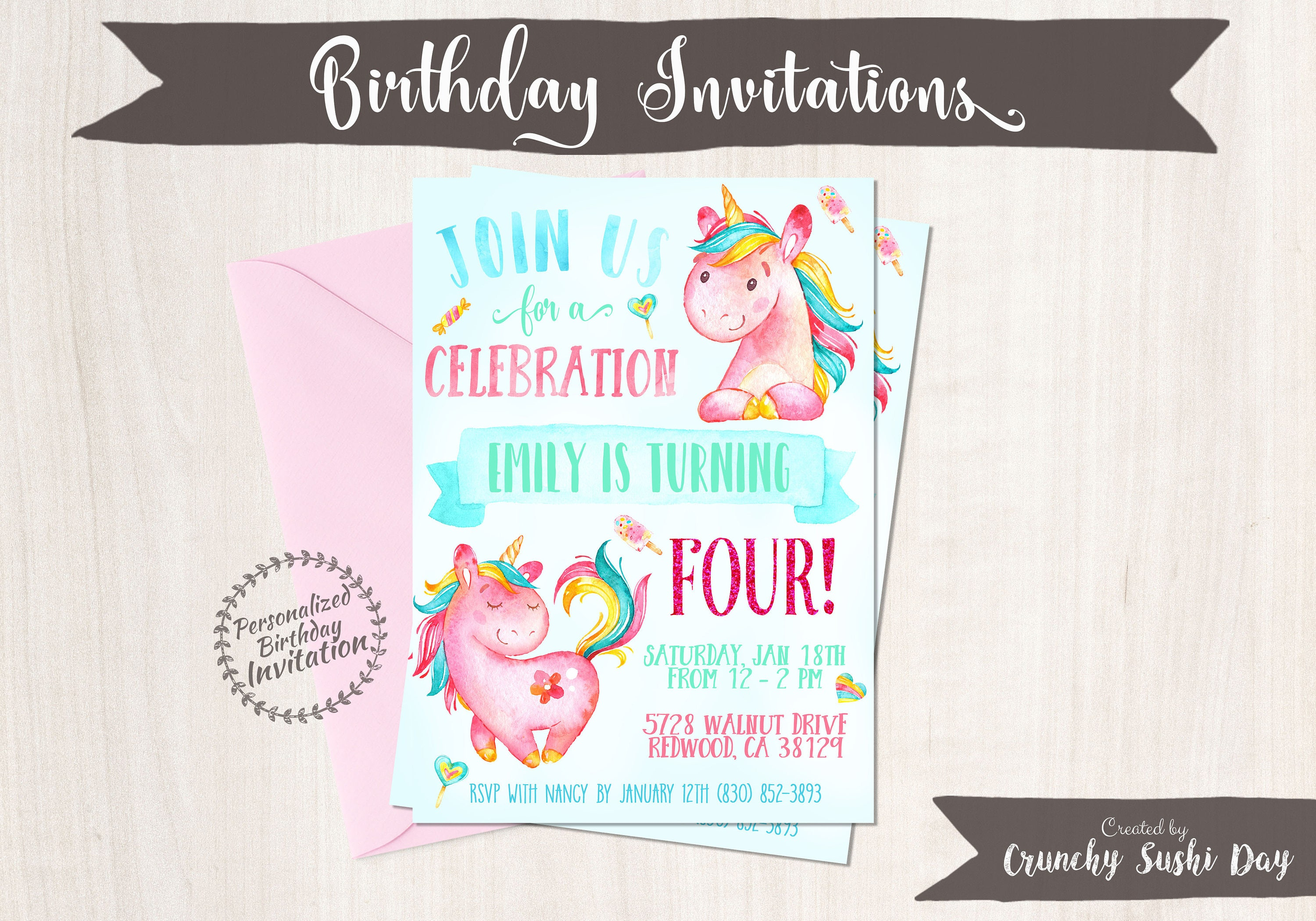 Unicorn Birthday Invitations, Unicorn Birthday Party, Customizable ...